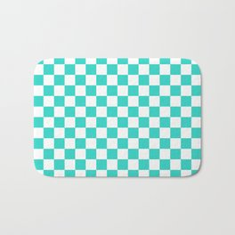 Small Checkered - White and Turquoise Bath Mat