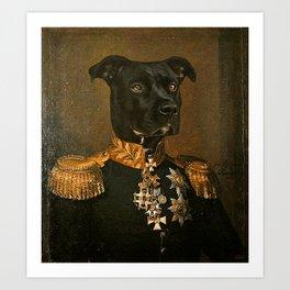 Pitbull General Portrait Painting   Dog Lovers! Art Print
