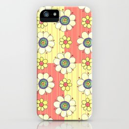 Coral and Yellow with Flowers iPhone Case