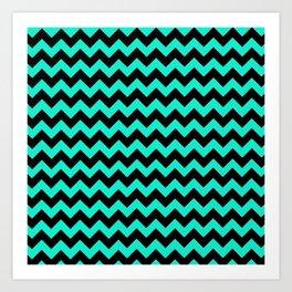 Blue and Black Zigzag Stripes Art Print
