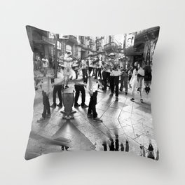 Summer space, smelting selves, simmer shimmers. 18, grayscale version Throw Pillow