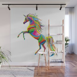 a colourful unicorn Wall Mural