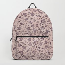 Ditsy Lilac Field of Petals on Pink,  Tiny Floral Pattern Backpack