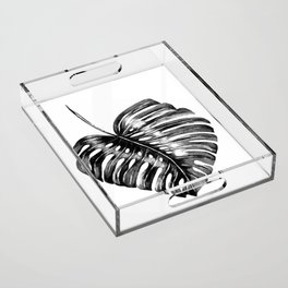 Monstera leaf black watercolor illustration Acrylic Tray