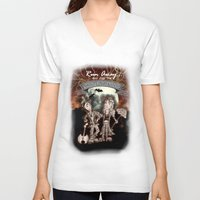 rock n roll V-neck T-shirts featuring Rock 'N' Roll Circus by Melissa Morrison