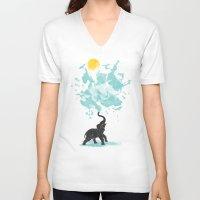 splash V-neck T-shirts featuring summer splash by Steven Toang