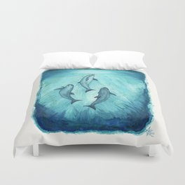 """Song of the Vaquita"" by Amber Marine ~ Watercolor Painting, (Copyright 2015) Duvet Cover"