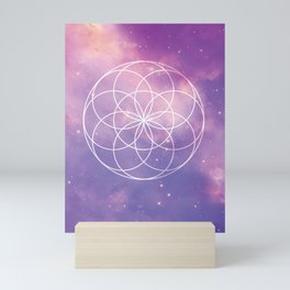 Seed of Life, Sacred Geometry over Galaxy - Pink & Purple Mini Art Print