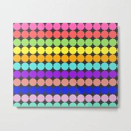 Stylized round multi-colored flowers (dark background) Metal Print