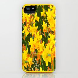 Olive Green Golden Daffodils Garden Abstract Art iPhone Case