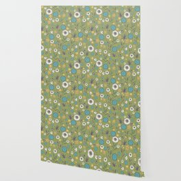 Emma_Wildflowers in Avocado Green Wallpaper