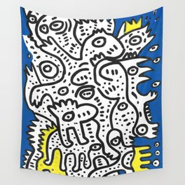 Yellow Blue Graffiti Art Doodle Black and White  Wall Tapestry