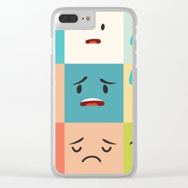 Negative emoticons vector pattern. Emoji square icons Clear iPhone Case