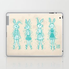 Bunny Girls - cute bunnies woodcut style texture clean creme natural rabbit ears hare cute  Laptop & iPad Skin