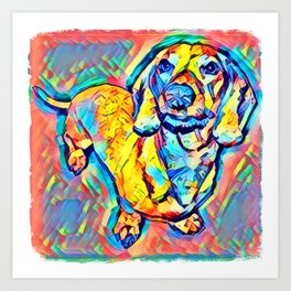 Colorful Popart Dachshund Art Print
