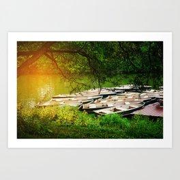Sunlight At The Boathouse Art Print