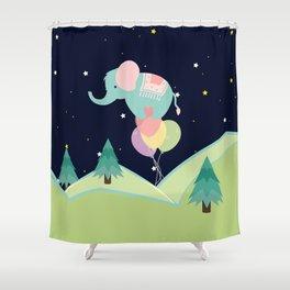 Elephant with Balloons, nursery decor , Shower Curtain