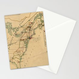 Vintage British Occupation Map of America (1765) Stationery Cards