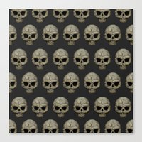 polkadot Canvas Prints featuring Odd Skull Polkadot by Luke Clark