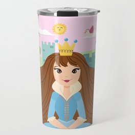 Fairy Tale Princess With Her Story Book Castle - Blue Dress Travel Mug