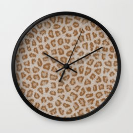 Hipster white brown cheetah animal print pattern Wall Clock