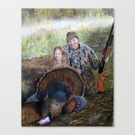 Father daughter hunters Canvas Print