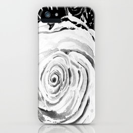 Roses For A Romantic Heart, Black and White iPhone Case