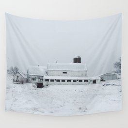 White Barn in Winter Wall Tapestry