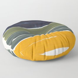 Minimalist Mid Century Color Block Color Field Rothko Navy Blue Olive Green Yellow Pattern by Ejaaz Haniff Floor Pillow