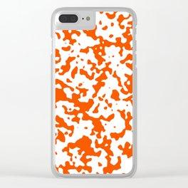 Spots - White and Dark Orange Clear iPhone Case