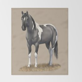 Grulla Paint Horse Throw Blanket