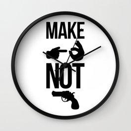 Make Love Not War Wall Clock