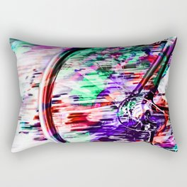 bicycle wheel with colorful abstract background in green red and purple Rectangular Pillow