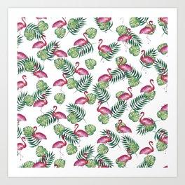 Flamingos in the Wild Art Print