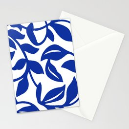 PALM LEAF VINE SWIRL BLUE AND WHITE PATTERN Stationery Cards