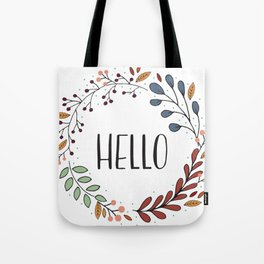 Hello Fall Wreath Tote Bag