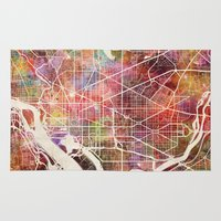 washington Area & Throw Rugs featuring Washington by MapMapMaps.Watercolors