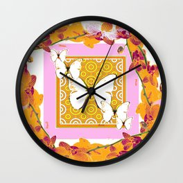 White Butterflies Orchid Sprays Purple Lilac-Gold Patterns Wall Clock