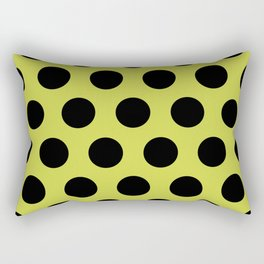 Mid Century Modern Polka Dots 552 Black and Chartreuse Rectangular Pillow