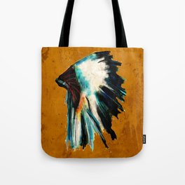 Native Headdress Orange Edit Tote Bag