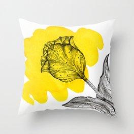 Yellow Spash Tulip Throw Pillow
