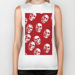 Hot Skulls, red white Biker Tank