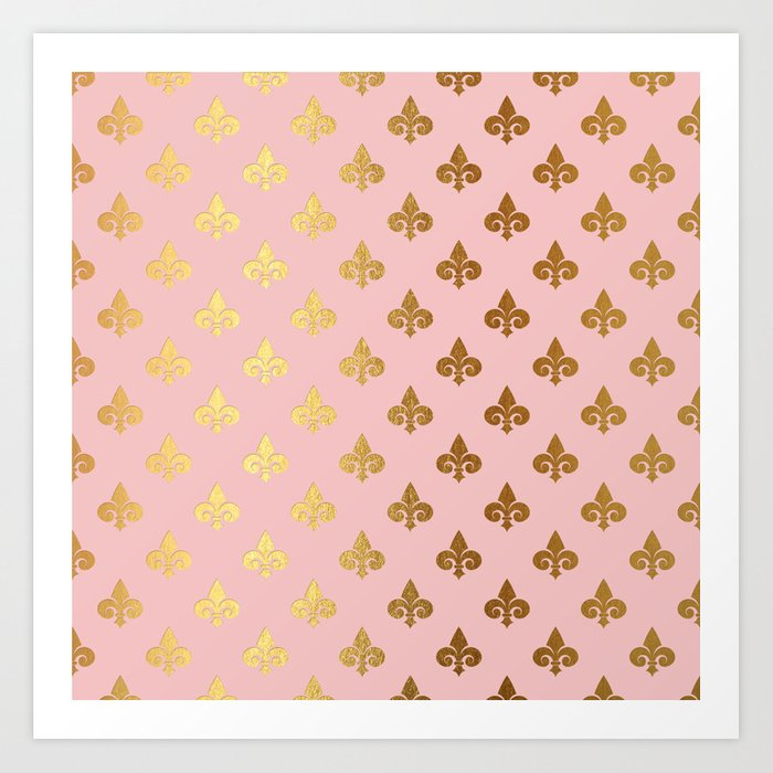 Royal Gold Ornaments On Pink Background Art Print By Betterhome
