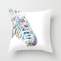 zebra Throw Pillows featuring Zebra by NKlein Design