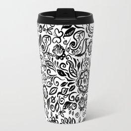 Vintage folk art floral ornament Black flowers on white background Travel Mug