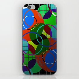Caged Geometry - Abstract, metallic, geometric, rainbow coloured circles iPhone Skin