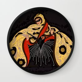 "Art Deco Illustration ""Masquerade"" by Erté Wall Clock"