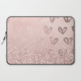 Rose Gold Sparkles on Pretty Blush Pink with Hearts Laptop Sleeve