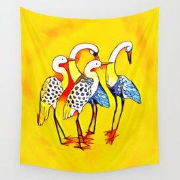 Vibrant Mystical Cranes Wall Tapestry