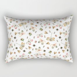 Watercolor Bugs - White Background Rectangular Pillow
